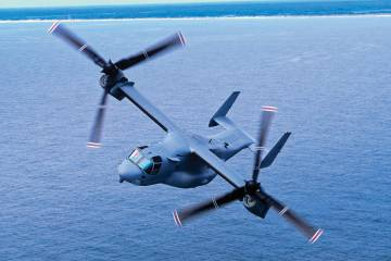 Singapore Airshow visitors can see the  Bell/Boeing MV-22 Osprey tiltrotor firsthand.