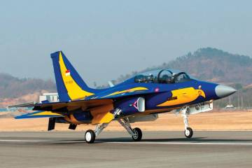 The first few of 16 KAI T-50Is were delivered to the Indonesian Air Force last September. All were scheduled to arrive at their new base at Madiun-Iswahyudi by the end of the year, but in January only 12 had arrived. The first six are in the colors of the TNI-AU's Elang Biru aerobatic team.