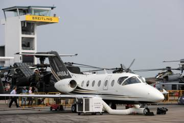 Nextant has brought its 400XTi demonstrator for its first visit to the Singapore Airshow. Also on show is a mockup of the H80 engine installation for the 90XT remanufactured King Air C90.