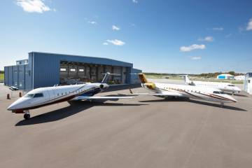 Flying Colour Corp's newly completed hangar increases capacity for interiors and maintenance work on large jets.