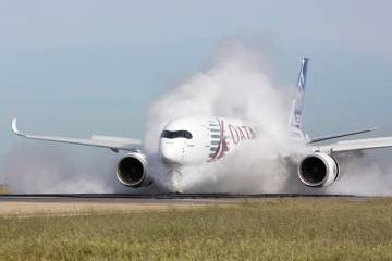 During pre-certification testing, the Airbus A350XWB  twin-aisle twinjet underwent water ingestion trials on a long military runway at Istres, France, that also is used for high- and maximum-energy rejected takeoff work.