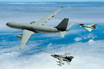 A Voyager tanker refuels a Typhoon and a Tornado. The entry into RAF service of this version of the Airbus A330MRTT was delayed while the MAA sought additional assurance to that provided by the aircraft's existing civil certifications.
