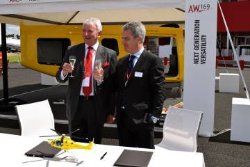 AW169 contract signing at Farnborough Airshow