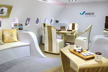 """Full-scale model of Haeco's cabin """"tea area""""  at ABACE"""