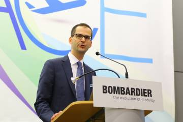 Jean-Christophe Gallagher, Bombardier VP strategy and marketing at podium