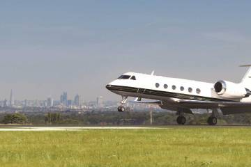 Gulfstream taking off at London Biggin Hill