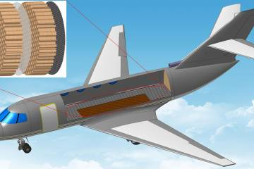 artist's rendering of honeycomb structure and aircraft fuselage