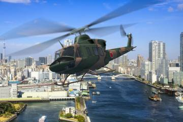 Bell 412EPI in flight, rendering