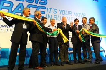 Ribbon cutting for Labace 2015.