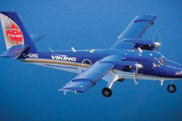 Viking Air is showing its corporate demonstrator Twin Otter 400, MSN 897, with a 'Twin Otter 50th Anniversary' livery at NBAA 2015.