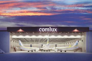 Comlux America recently opened a new hangar at its Indianapolis headquarters to make room for more widebody completion work. The company can now work on widebodies and narrowbodies simultaneously.