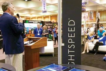 """Allan Schrader, president of Lightspeed Aviation, presents this year's Lightspeed Foundation Pilot's Choice Awards in Palm Springs, Calif. Since 2010, Lightspeed has awarded $500,000 to date to recipients chosen by """"the pilot community."""""""