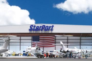 Starport operates both an FBO and an MRO at Orlando Sanford. The Part 145 repair station can perform maintenance on King Airs to Global 6000s. On the FBO side, the company is housed in a 7,000-sq-ft terminal, which is slated for refurbishment next year. Starport plans to seek IS-BAH certification for ground handling.