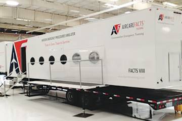 FACTS VIII is the latest and largest full-motion cabin simulator from Aircare International. The device moves to enhance the realism of a simulated emergency. At right, the RVS Plus facilitates video consultations.