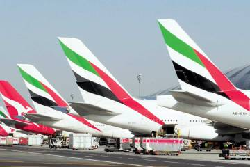 line up of Emirates airline tails