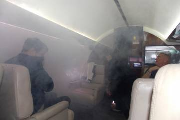 smoke-filled cabin