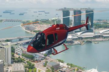 helicopter flying over Singapore