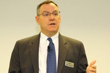 Boeing's Scott Fancher met with reporters Wednesday.
