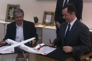 Iran Air chairman Farhad Parvaresh (left) and ATR chief executive Patrick de Castelbajac