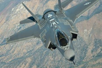 F-35 in flight.