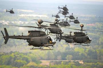 Kiowa Warrior final flight over Fort Bragg