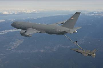 KC-46A tanker refuels an F-16 fighter