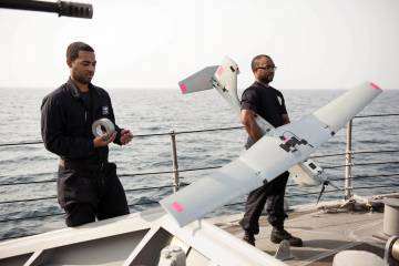 U.S. sailors with AeroVironment Puma AE