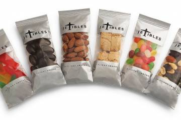 Around lunchtime you may notice people lining up on the show floor to sample Torn Ranch's new Jetibles: milk chocolate caramels, dried Turkish apricots, sea salt and vinegar cashews and much more.