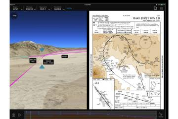 "The Flight Preview function allows crews to ""fly"" an instrument approach ahead of time. The tablet's left pane displays a ""movie"" of the approach, while the right plane displays the approach plate."