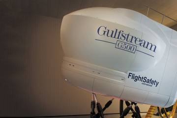 The new Gulfstream G500 full-motion simulator from FlightSafety includes improved graphics that minimize distortion.
