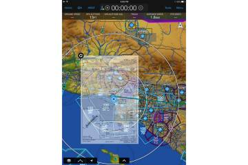 One new feature in the latest Garmin Pilot version allows pilots to overlay approach and departure charts on the main navigation screen. The overlaid chart's opacity can be adjusted.