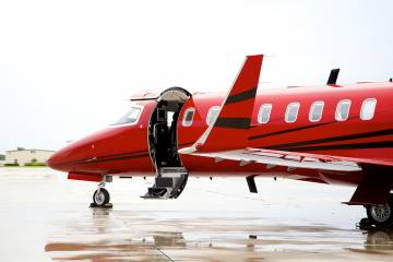 Redstar Aviation Bombardier Learjet 45XR with air ambulance equipment.