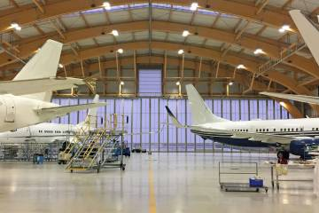 Amac's hangar with BBJ and ACJ aircraft