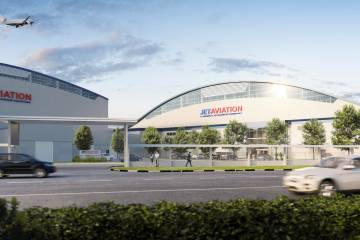 Rendering of new Jet Aviation hangar at Seletar.