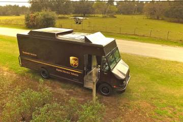 UPS package truck with HorseFly drone