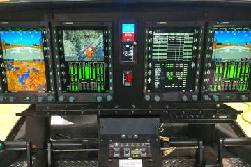 Genesys Aerosystems will supply the new upgraded flight deck avionics system for the MD 902 Explorer. Genesys is showing this four-display system here at Heli-Expo, but the new avionics suite for the MD 902 will have only three displays—one multifunction screen and two primary flight displays.
