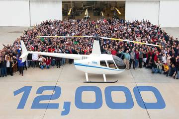 Torrance, California-based Robinson Helicopter rolled out its 12,000th helicopter, a turbine-powered R66, in late December. The milestone helicopter will be delivered to South African dealer Hover Dynamics and eventually will fly charters and air tour flights at Fly Karoo Air Services in the Graff-Reinet area.
