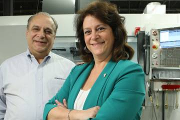 East/West Industries v-p for business development Joe Spinosa and president Teresa Ferraro are busy with Bell 505 seat manufacturing at their Ronkonkoma, New York, facility.