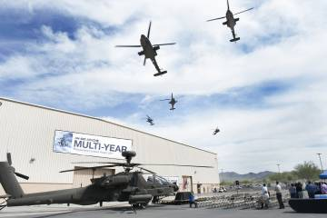 Apache flyover in Mesa, Arizona