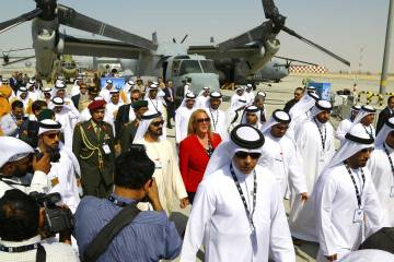 crowd scene with sheiks at the Dubai airshow