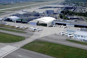 Rendering of Jet Aviation's new completions hangar in Basel