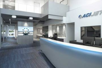 Arist rendering of the planned interior of the ACI Jet FBO at SNA