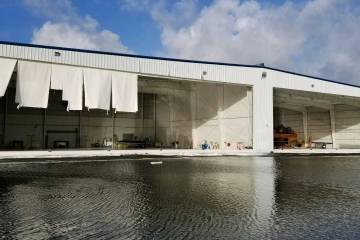 Irma-damaged hangars at Florida's Naples Municipal Airport