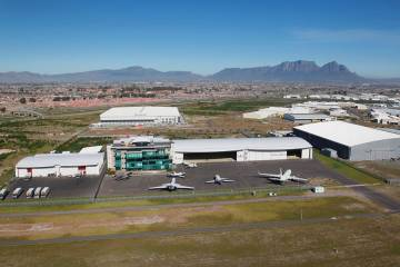 Seeing Africa as a potential business aviation hub, ExecuJet is operating three facilities in the country: one at Lanseria, offering 9,000 sq m of hangar space; another at Cape Town International Airport (above) measuring 6,000 sq m and one opened in Lagos in 2012 at Murtala Mohammed International Airport (below) with 4,700 sq m of hangarage.