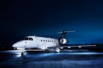 Embraer's new Legacy 500, scheduled to fly in the near future, sports a distinctive paint scheme