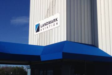 Landmark Aviation's temporary signage goes up on the former Panorama Flight Support at New York Westchester County Airport