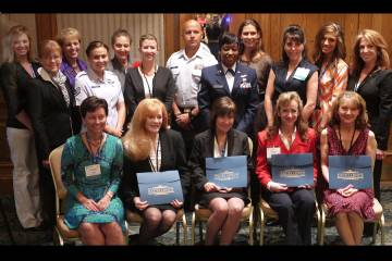 Seventeen of 32 flight attendants and flight technicians who are sharing in $60,000 in scholarship funds awarded under the watchful eyes of NBAA and its Flight Attendants Committee.