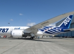 ANA's first 787 Dreamliner rolled out of Boeing's paint hangar in Everett, Wa...