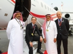 Marking the sale of two Falcon 900s to Cessna Middle East sales rep Wallan Aviation are (l-r) Fahad Wallan, v-p operations, Wallan Aviation; Gilles Gautier, Dassault's v-p sales EMEA; Saad Wallan, chairman of Wallan Aviation; and Renaud Cloatre, Dassault Middle East sales director.