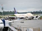 A 747-8F destined for Saudi Arabian Airlines undergoes preparation for delivery in Everett, Washington.